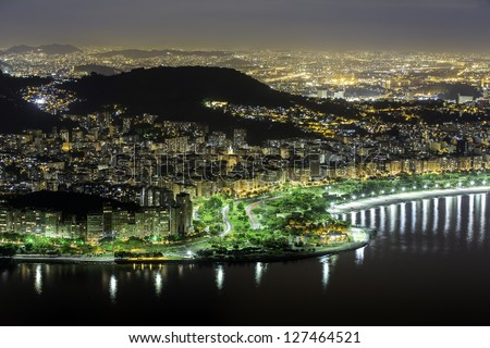 Aerial view of Rio De Janeiro by night - stock photo
