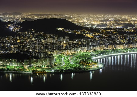Aerial view of Rio De Janeiro by night in Brazil