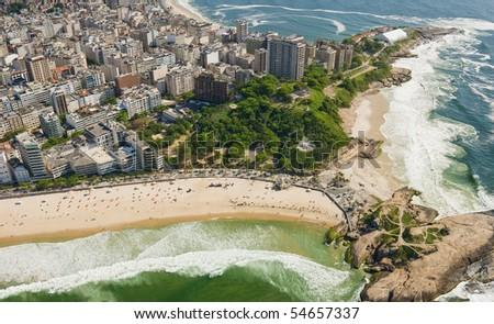 Aerial view of Rio De Janeiro's famous beaches - stock photo