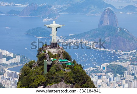 Shutterstock Aerial view of Rio de Janeiro with Christ Redeemer and Corcovado Mountain