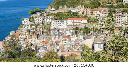 Aerial view of Riomaggiore on a sunny day. Five Lands, Italy