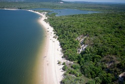 Aerial view of river beach, Tapajós River, Amazon Region - Alter do Chão, Pará, Brazil