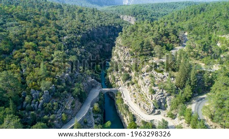 Aerial view of River landscape from Koprulu Canyon. Manavgat, Antalya, Turkey - Touristic places Stok fotoğraf ©