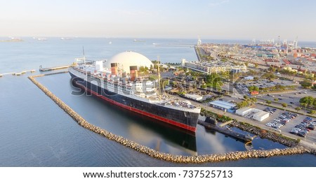 Aerial view of RMS Queen Mary ocean liner, Long Beach, CA.