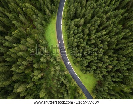 Aerial view of road and  cars passing by in green forest in mountains. drone shot #1166997889
