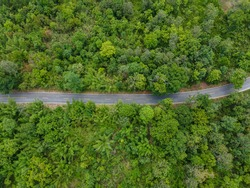 aerial view of road curve construction up to mountain in thailand, Natural road concept