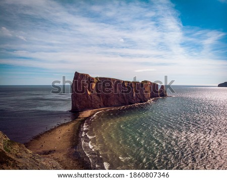 Aerial view of Rocher Perce in the Gaspe Peninsula in Canada Photo stock ©
