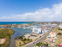 Aerial view of Rodney Bay marina area Saint Lucia