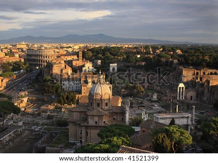 Aerial view of Rome, Italy.  Includes Colosseum, Roman Forum and Palatine Hill.