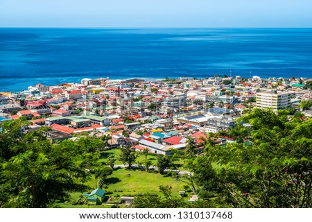 Aerial view of Roseau city, Dominica. Stockfoto ©
