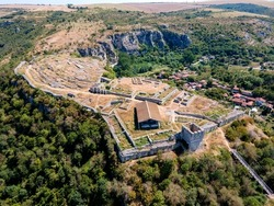 Aerial view of Ruins of medieval fortificated city of Cherven from period of Second Bulgarian Empire, Ruse region, Bulgaria