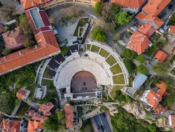 Aerial view of Ruins of Roman theatre of Philippopolis in city of Plovdiv, Bulgaria