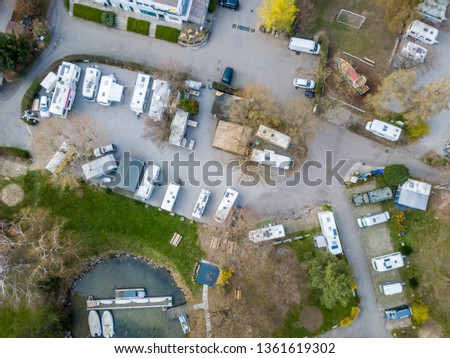 Aerial view of RV campsite in Europe #1361619302