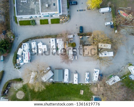 Aerial view of RV campsite in Europe #1361619776