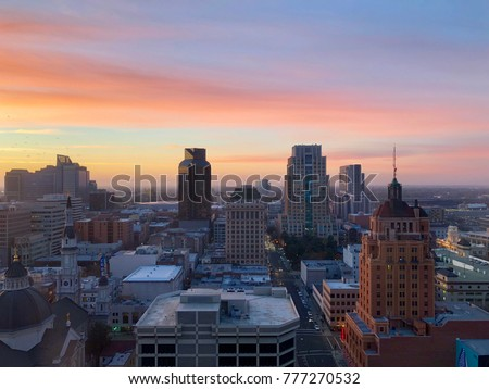 Aerial View of Sacramento Downtown late afternoon #777270532