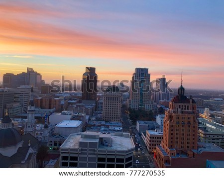 Aerial View of Sacramento Downtown late afternoon #777270535