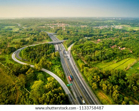 Aerial View of Sadang Interchange, Cipularang Toll Road, Purwakarta, West Java, Indonesia, Asia