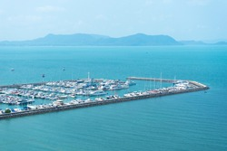 Aerial view of sail boats in marina port in harbor in Pattaya.