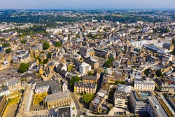 Aerial view of Saint-Brieuc commune with modern and medieval buildings, Brittany, northwestern France