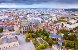 Aerial view of Saint-Etienne Cathedral in Limoges, France