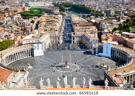 Aerial view of Saint Peter's Square in Rome, Italy.