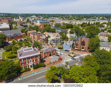 Aerial view of Salem historic city center including Salem Witch Museum and Andrew Safford House in city of Salem, Massachusetts MA, USA.  Stock fotó ©