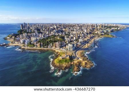 Aerial view of Salvador da Bahia cityscape, Bahia, Brazil.