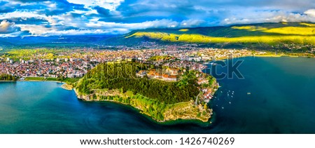 Aerial view of Samuel's Fortress and Plaosnik at Ohrid in North Macedonia
