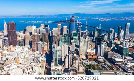 Aerial view of San Francisco downtown and bay. #520729021