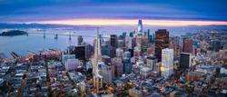 Aerial View of San Francisco Skyline at Sunrise, California, USA