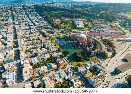Aerial view of San Francsico, CA with the Palace of Fine Arts #1536492077
