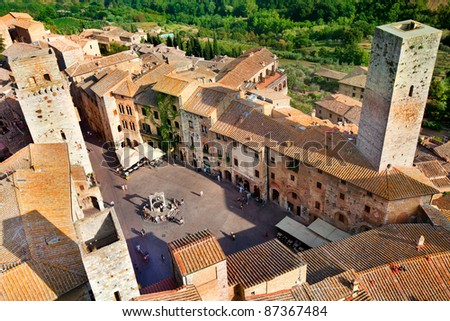 Aerial view of San Gimignano from the tower of the Palazzo del Popolo, Tuscany, Italy