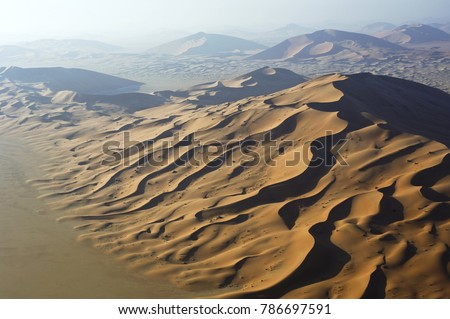 Aerial view of sand dunes at Rub Al Khali desert