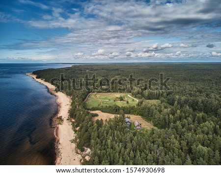 Photo of  Aerial view of sandy beach and ocean with waves.