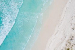 Aerial view of sandy tropical beach in summer at Western Australia, Australia. Landscape and travel, or nature and sightseeing in summer concept