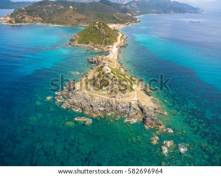 Aerial view of Sanguinaires bloodthirsty Islands in Corsica, France #582696964