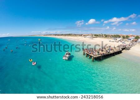 Shutterstock Aerial view of Santa Maria beach in Sal Cape Verde - Cabo Verde