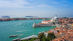 Aerial View of Santa Maria della Salute Church, Venice, Italy