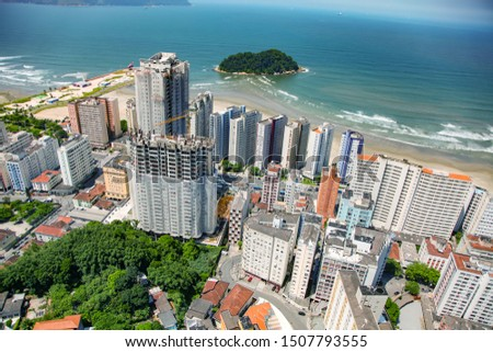 Aerial view of Santos city waterfront in Brazil #1507793555