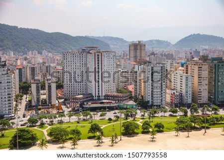 Aerial view of Santos city waterfront in Brazil #1507793558