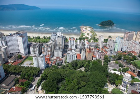 Aerial view of Santos city waterfront in Brazil #1507793561