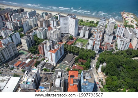 Aerial view of Santos city waterfront in Brazil #1507793567