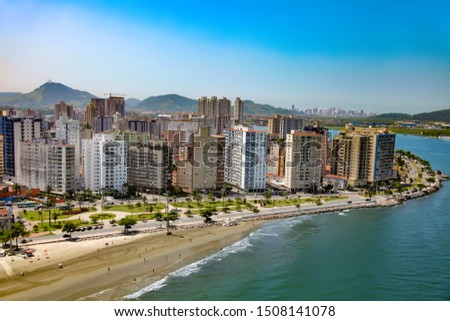 Aerial view of Santos city waterfront in Brazil #1508141078