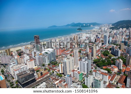 Aerial view of Santos city waterfront in Brazil #1508141096