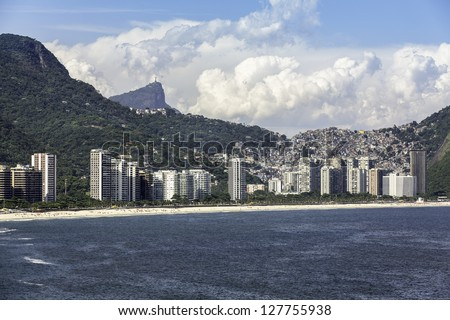 Aerial view of  Sao Conrado with Corcovado at background in Brazil