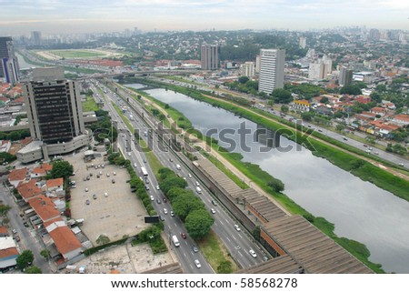 aerial view of sao paulo, the most important city in brazil
