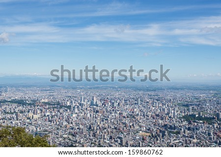 Aerial view of Sapporo city, Japan. taken from the top of Mt.Moiwa.