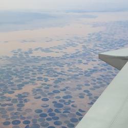 aerial view of saudi arabia through airplane window vintage colour