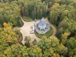 Aerial view of Schwarzenberg tomb from 18th century. Tomb is famous tourist attraction near Trebon, South Bohemia. Historical landmark from above in Czech republic, European union. gothic style