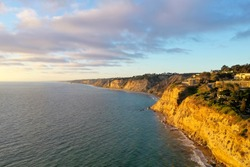 Aerial view of Scripps Coastal Reserve in La Jolla, California at sunset.